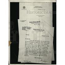 1921 Press Photo New York Senate letterhead by Secretary of State to H Carey NYC