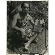 1929 Press Photo Faiaoga Tufele Chieftain of Samoans, Los Angeles, California