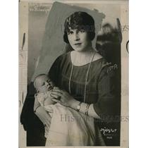 1922 Press Photo Princess Helen, Wife of Romanian Crown Prince Carol, & Child