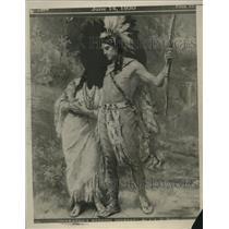 1941 Press Photo A Native American warrior & a squaw - neo25875