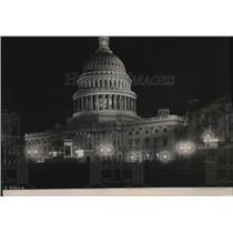 1921 Press Photo The U.S. Capitol Illuminated on Eve of Inauguration, Wash. D.C.