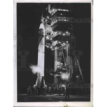 1959 Press Photo First US satellite put into orbit, atop Jupiter rocket, Florida