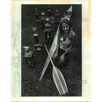 1983 Press Photo Lori Authement with Boat and Trophies - noa20981