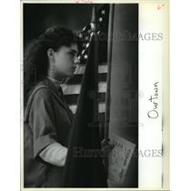 1989 Press Photo Girl Scouts - Yvonne Ketchersid at Arbor Day Ceremony, Algiers
