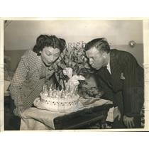 1941 Press Photo actress Katharine Cornell, Guthrie McClintic celebrate 20th