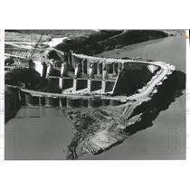 1959 Press Photo Alabama-Aerial view of Weiss Dam construction. - abnx02162