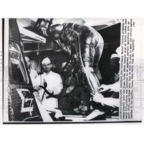1962 Press Photo Astronaut Walter at Cape Canaveral FL Prepares to Swing Himself