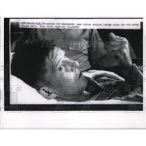 1962 Press Photo Walter Schirra Rests Abroad the Kearsarge After 6 Orbit Flight