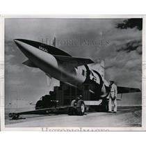 1957 Press Photo GAM-63 Rascal air to surface rocket rests on carrier