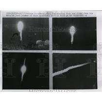 1957 Press Photo Thor missile test launch at Cape Canaveral Florida - nem37586