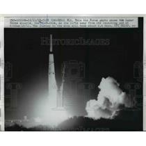 1958 Press Photo Lunar Probe Missile Thor-Able takes off from launch pad