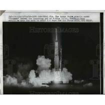 1958 Press Photo Lunar Probe Missile Pioneer leave launching pad - nem38409