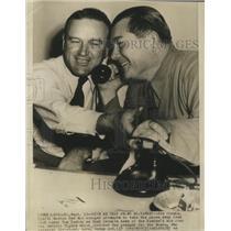 1946 Press Photo Joe Cronin attempts to take phone away from Tom Yawkey