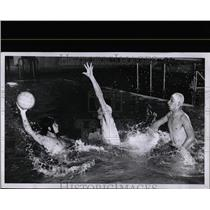1958 Press Photo Men Playing Water Polo Cowles Hillock - RRW07899