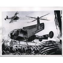 1956 Press Photo Artist's Conception of Tilt-Wing Plane Being Designed for Army