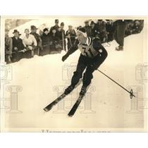 1934 Press Photo Dick Durrance Competes in Mens Slalom Winter Olympics