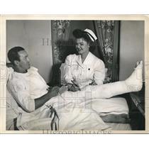 1945 Press Photo Roy Hughes Chicago Cubs Second Baseman Nurse Emma Lemley
