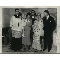 1932 Press Photo John and Helene Barrymore with others at son John's christening
