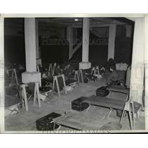 1941 Press Photo Californian National Guard Soldiers in Cots under Coliseum