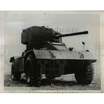 1944 Press Photo Mark II armored car most powerful British vehicle on display