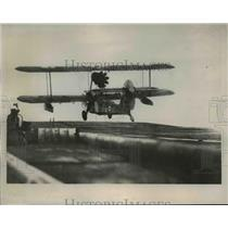 1941 Press Photo Walrus Seaplane Takes off from Air Craft Carrier in England