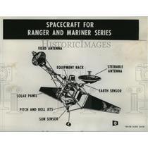 1960 Press Photo Mariner and Ranger Spacecraft Drawing - nosp00089