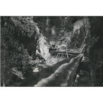 1948 Press Photo Flume to carry lumber from headquarters to Wind River