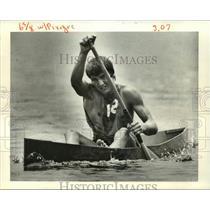 1983 Press Photo Wade Loup Paddling in Bayou Liberty Pirogue Races