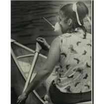 1976 Press Photo Girl in Canoe and Kayak Race on Bayou St. John - noa28188