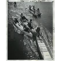 1974 Press Photo Canoe Race at Bayou St. John by Haystackers Canoe Club