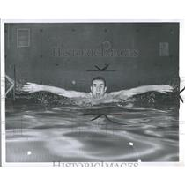 1962 Press Photo Tim Kennary Breast Stroke Swimmer