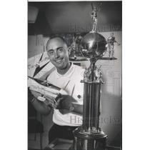 1963 Press Photo Bob Gialdini with Winning Model Airplane and Trophy, Milwaukee