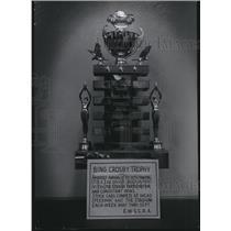 1956 Press Photo Bing Crosby Trophy awarded to top Spokane area stock car driver