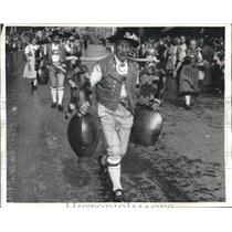 1957 Press Photo Traditional Bavarain Costume with Cowbells, Germany