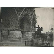 1916 Press South Tower and Statue of Joan of Arc at Rheims Cathedral, France