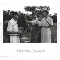 1990 Press Photo Houston Polo Club director Charlie Flanders with supporters