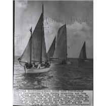 1955 Press Photo Four country's racing yachts shown at starting line in Havana