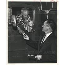 1961 Press Photo Accepting Pin from Supervisor at Houston Lighting & Power Co