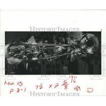 1982 Press Photo Shinny Band Instruments at ball game, Angleton, Texas