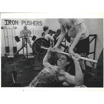 1988 Press Photo Jaysen Quhn on a bench press at Medical Lake High School