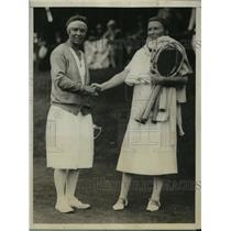 1926 Press Photo Molla Mallory Defeats Elizabeth Ryan in Women's Tennis Champ