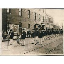 1909 Press Photo Rose Marching Club Lined Up on Street, Milwaukee, Wisconsin