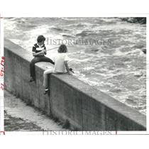 1980 Press Photo Two youngsters fish off the Addicks Dam Reservoir Spillway