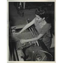 1949 Press Photo Worker on San Juan Island part of recovery , Puerto Rico. U.S.