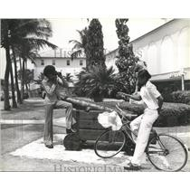 """1982 Press Photo Picture of Lady & Bike  """"Bahamas Islands Ministry of Tourism"""""""
