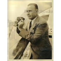 1933 Press Photo Perry Hutton aviator on his way to Rome Italy on an ocean liner