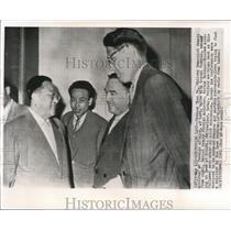 1961 Press Photo Tschang Chan Fu and Georgi Pushkin in Russian-Chinese Meeting