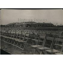 1927 Press Photo Cleveland Airport seating for Charles Lindbergh's arrival.