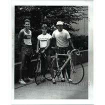 1987 Press Photo Mike Fakult, Paula Newby-Fraser and Bill Leach - cvb53622