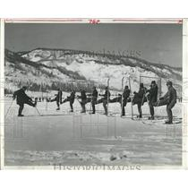 1956 Press Photo Camp Hale Colorado Army Face Skis Wear - RRX81197